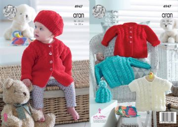 King Cole Knitting Pattern - Baby Childrens Cardigan Jacket and Hat 4947